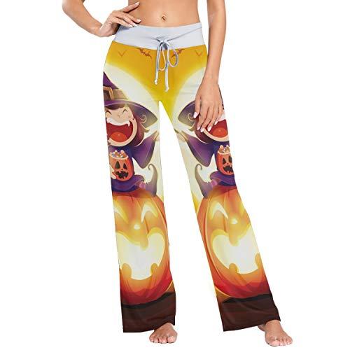Pantalones de Pijama de Pierna Ancha elásticos para Mujer Pantalones de salón cómodos XL Fun Pumpkin Witch