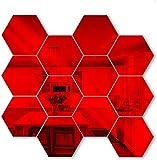 Jishu 12 pegatinas de pared con forma de hexágonos de primavera superior para espejo acrílico 3D, adhesivo decorativo para pared para el hogar