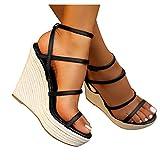 Soolike Sandalia de Cuna para Mujer, Forrada de Yute, Zapatos Verano Mujer Comodos Cuñas Primavera Verano 2021,con Punta Cerrada, y Cierre de Hebilla, Cinturón Cruzado,Trenzado con Cuerda de Cáñamo