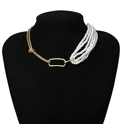 Necklaces,Chain Necklace Punk Unique Imitation Pearl Chain Necklace for Women Wedding Twisted Chunky Thick Choker Necklace Jewelry GoldColor