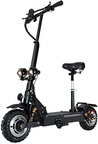 10 Zoll pro Stunde Doppelantrieb Elektro-Motorroller for Erwachsene Höchstgeschwindigkeit 85 km Straßenreifen CST faltbaren Roller Sitz und eine Batterie Pendel