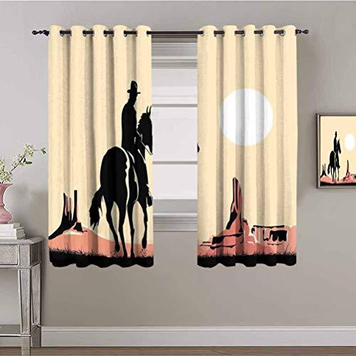 Western Blackout Window Curtains Art of Cowboy Riding Horse Towards Sunset in Wild West Desert Hero Reduce Light Yellow Orange Black W72 x L72 Inch