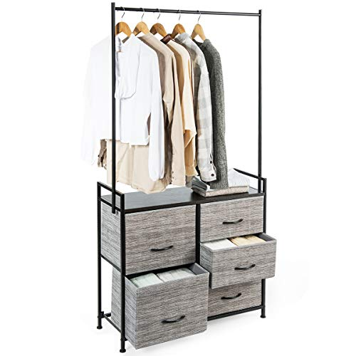 COSTWAY Metal Clothes Hanging Rail with 5 Fabric Drawers Organizer Unit, Garment Coat Clothing Wardrobe Closet Storage Rack Cabinet for Hallway, Bedroom, Living Room and More (with Drawers)