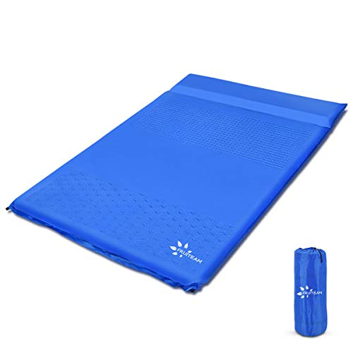 FRUITEAM Sleeping Pad for Camping 2 Person Extra Thickness Self-Inflating Double Camping Pad with Pillow, Sleeping Mat for Backpacking