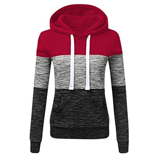 TOPKEAL Frauen Hoodie Pullover Damen Kapuzenpullover Streifen Sweatshirt Winterpullover Langarm Jacke mit Kapuze Tasche Mantel Tops Blouse Pulli (Wein 3, XL)