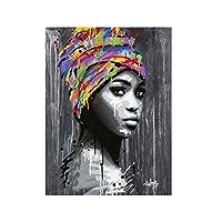 キャンバスプリント、グラフィティ色のターバンの女オイルキャンバスポスターを絵画やリビングルーム、ベッドルームのための家の装飾の写真を絵画の壁を印刷、フレームレス,60×90cm