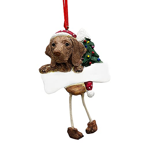 Viszla Ornament with Unique 'Dangling Legs' Hand Painted and Easily Personalized Christmas Ornament