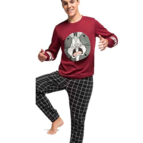 Pijama Hombre Largo Bugs Bunny (M, Burdeos