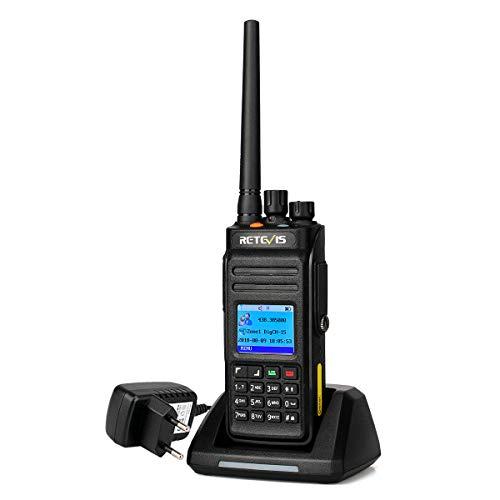 Retevis RT83 DMR Digitales Walkie-Talkie, Wasserdichtes Funkgerät IP67, 1024 Kanäle, GPS, 2800 mAh, TDMA-Amateurfunk mit Zwei Zeitschlitzen, zum Surfen, Kajakfahren (Schwarz, 1 Stück)