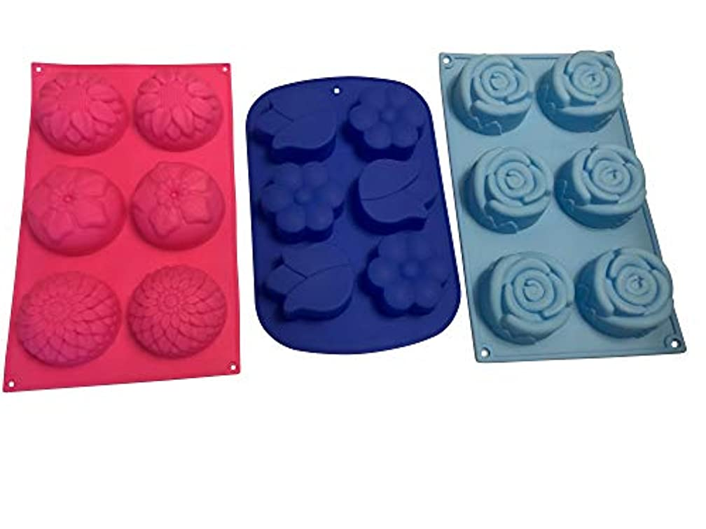 3 Silicone Flower Soap Molds – Floral Shaped Soaps Mold – Cake Baking DIY Bath Bombs – Homemade Baked Flowers Cakes Gift – Bundle by Jolly Jon (Variety B, 3 Total Molds)
