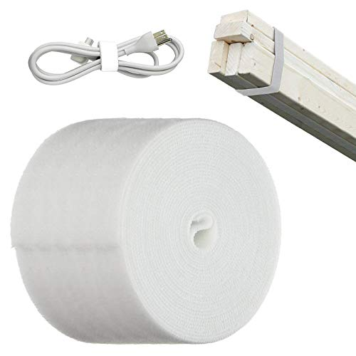 TEUVO Klettverschluss für Binden Kabel, Nicht Klebstoff Weiß Nylon Klettband für Kabel Verwaltung, DIY Handwerk Rund um Startseite und Büro, 9 cm Breit und 4 m Lang
