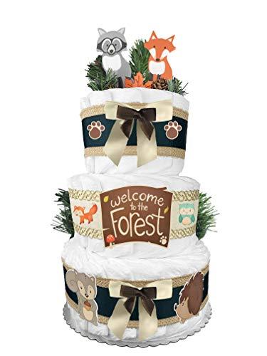 Woodland Creatures Diaper Cake - Baby Shower Gift - Gender Neutral - Fox
