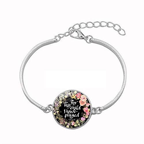 YUANOMSL Pulsera de cristal, guirnalda colorida, hermosa fuente de la biblia, pulsera de gemas de tiempo chapada en aleación de plata, joyería hecha a mano, joyería de estilo europeo regalo