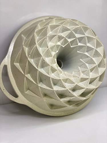Zellerfeld Design Backform Gugelhupfform Rund Ø24cm aus hochwertigem antihaftbeschichtetem Aluguss mit geometrischer Oberflächenstruktur Creme I ZY-LX11-3 I