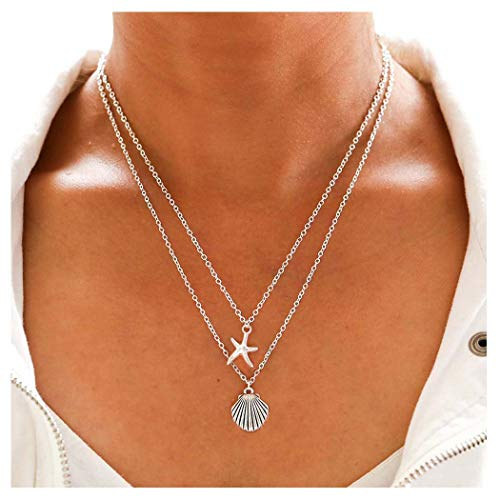 Tgirls Boho Layered Necklace Shell Pendant Necklace Chain Starfish Pendant Jewelry Chain for Women and Girls (Silver)