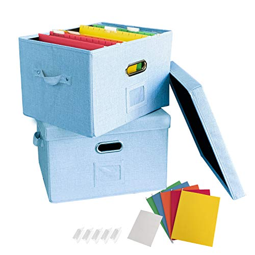 JSungo - Caja organizadora de documentos de oficina con tapa, organizador plegable de lino para colgar, almacenamiento portátil con asa, carpeta legal tamaño de carta, color azul