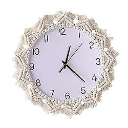 Beerty Wall Clock - Nordic Style Macrame Rope Woven Wall Clock DIY Wall Hanging Clocks Creative Round Boho Wall Art Living Room Home Decor