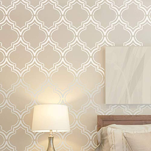 Moroccan Double Wall Stencil for Painting - Expedited 3 days Delivery - Wall Accent - Reusable Template - Large Mylar Washable Plastic - Repeatable Pattern for Wall Décor