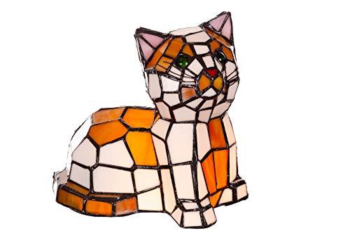 Lámpara de estilo Tiffany con forma de gato, pez, caballo, mariposa, lámpara de cristal, lámpara de mesa, lámpara de mesa (motivo de gato)