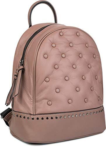 styleBREAKER Damen Rucksack Handtasche mit Nieten im Chesterfield-Stil, Reißverschluss, Tasche 02012266, Farbe:Altrose
