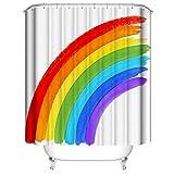 LLLTONG Wasserdichter Duschvorhang aus Polyestergewebe, Regenbogen gegen Mehltau & antibakterielles 3D-Digitaldruckmuster