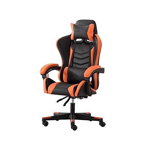 N/Z Tägliche Ausrüstung Stuhl Gaming Chair Hohe Rückenlehne Computerstuhl Elevating Rotary Ergonomics Eports Stuhl mit Kopfstütze und Massage Lendenkissen Orange Weiß