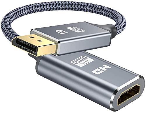 4K DisplayPort auf HDMI Adapter-DP zu HDMI Adapter Unterstützung (3840x2160@30Hz) Nylon geflochten DisplayPort auf HDMI Konverter kompatibel mitHP,HDTV,ThinkPad,Monitor,Projektor,Desktop-Grau