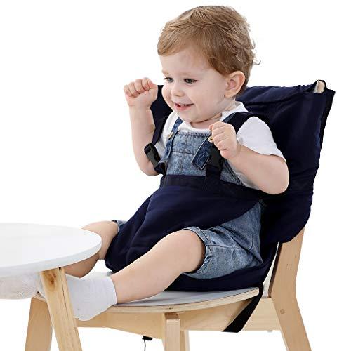 Vine Chaise Haute de Voyage Portable Easy Seat | Rehausseur Chaise Enfant,Housse de Siège pour Chaise Haute Toddler | Réglable, Sécurité, Lavable | Facile à Ransporter dans le sac à main (Bleu Foncé)