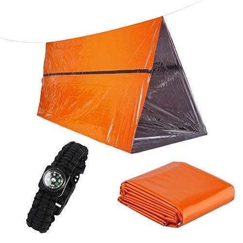 Kit di Sopravvivenza Multiuso 3 in 1 Comprende Tenda di Emergenza, Coperte Termiche e Braccialetto di Sopravvivenza Paracord - Resistente alla Lacerazione e Colore Arancione Altamente Visibile
