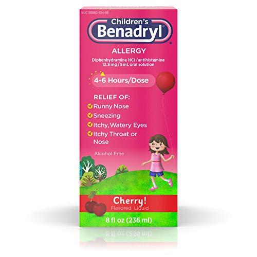 Children's Benadryl Allergy Liquid with Diphenhydramine HCl Antihistamine for Kids' Allergy Relief, Cherry Flavor, 8 fl. oz ( Pack of 3)