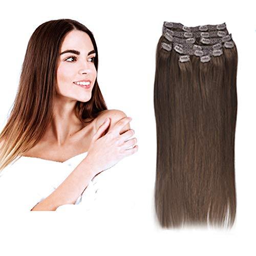 (35cm-55cm) Clip In Extensions 10 Teiliges SET 160g 100% Remy Echthaar für Komplette Haarverlängerung glatt Haarteile (4#, Mittelbraun, 50cm)
