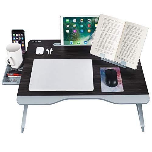 NearPow [Tamaño Grande] Mesa Ordenador Cama Mesa Portatil Ordenador con Cajón y Soporte de Libros Mesa Plegable Cama para Estudiar Comer Pintar(Negra)