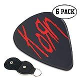Korn コーン ロゴ ギターピック 6枚/セット ウクレレ エレキギター 3種厚さ プリントデザイン お洒落 目立ち バリ無し 尖らず