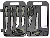 Old Timer Camp Knife Kit with Shears, Saws, Knives, Cutting Board and Gloves for Outdoor, Hunting, Field Dressing, Filleting, Skinning and Camping , Black