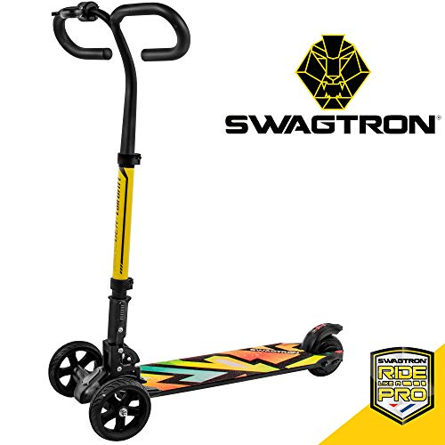 Swagtron SG-6 Cali Drift Three-Wheel Electric Scooter Folding E-Scooter with 250W Motor, Thumb Throttle, Handbrakes, and 15.5MPH Max Speed