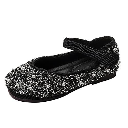 Zapatos Planos para niñas cómodos Antideslizantes Suela Suave Diamantes de imitación Zapatos de Princesa Zapatos de Vestir para Fiesta de Boda para niñas Mary Jane