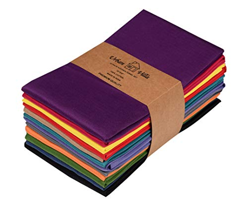 Urban Villa Kitchen Towels, Premium Quality, Solid Satin Weave Ultra Soft 100% Cotton Dish Towels, (Size: 20X30 Inch), Multi Color Highly Absorbent Bar Towels & Tea Towels - (Set of 12)