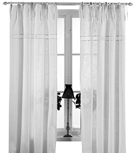 Gardinenschal Vorhang 'San' 2er Set 120 x 240 cm (BxH) bestickt mit Spitze weiß OFFWHITE Baumwolle Landhaus Shabby French Vintage Retro Antik Nostalgie