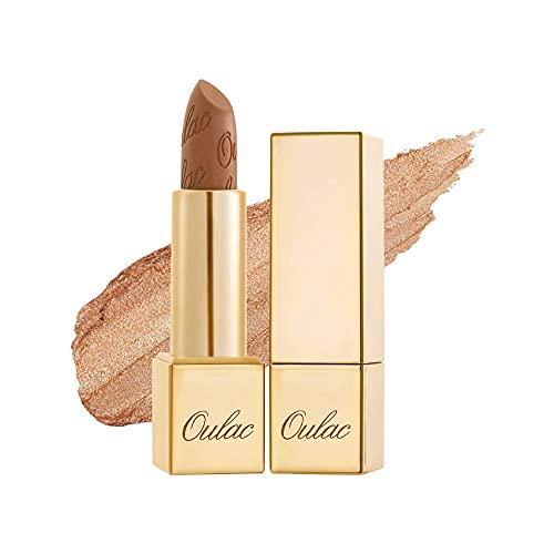 OULAC Lippenstift Metallic Glanz Finish, Kein Körniges Gefühl Lipstick mit Langanhaltend Feuchtigkeitsspendende und Wasserdicht, 4.3g, Sahara-Gold