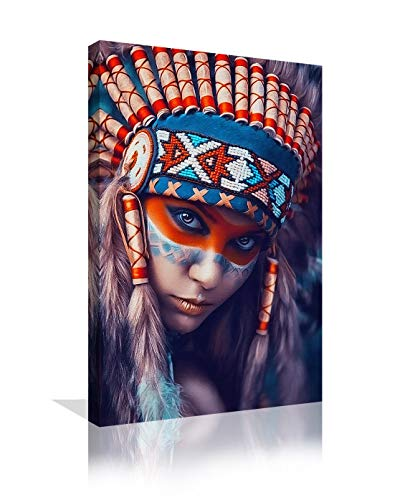 Native American Indian Girl Decor Colorful Canvas Wall Art Decorations for Bedroom Living Room Walls Prints and Posters Paintings Framed Ready to Hang