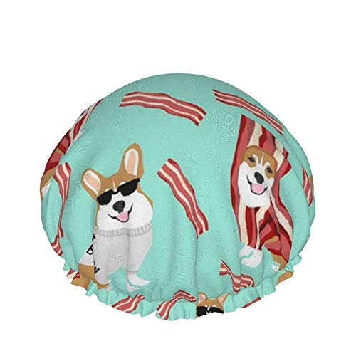 Corgi Loves Bacon Dog In Bacon Disfraz Perro Reutilizable Doble impermeable Ducha Cuidado del cabello Gorro de ducha para todas las longitudes de cabello