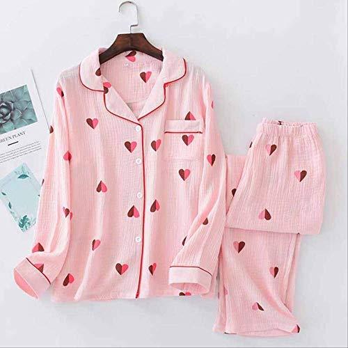 XFLOWR Dames Full Katoen pyjama Set Hart Gedrukt 100% Gaas Katoen Lente en Herfst Zachte Turn-down kraag Slaapmode Vrouwen Huiskleding