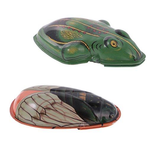 Baoblaze Metal Juguete de Sonidos de Voces Forma Cicada y Rana Animal de Simulación Colección
