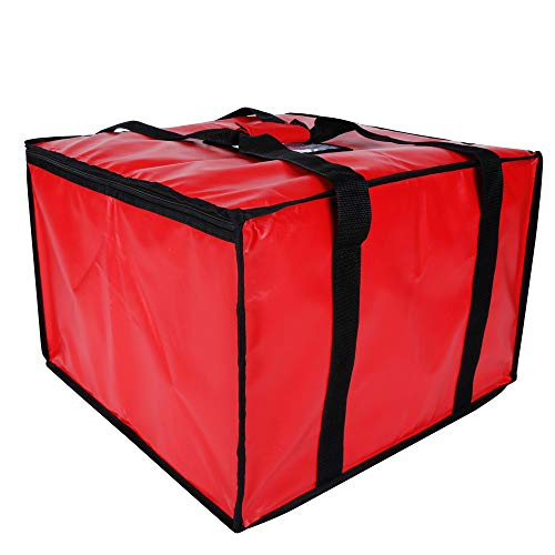 cherrboll Insulated Pizza Delivery Bag, 20 by 20 by 14 -Inch, Commercial Grade Food Delivery Bag, Moisture Free(Red)