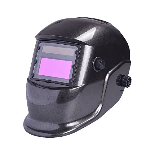 Nuzamas Solar Powered Auto Darkening Welding Helmet Mask Weld Simple Black Face Protection for Arc Tig Mig Grinding Plasma Cutting with Adjustable Shade Range DIN4/9-13 UV/IV protection DIN16