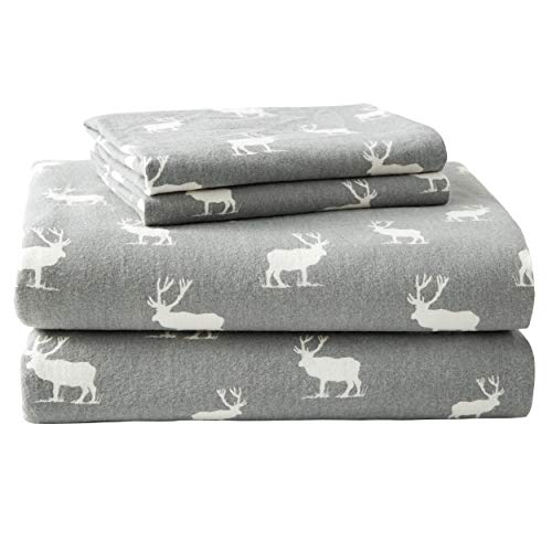 Eddie Bauer - Flannel Collection - 100% Premium Cotton Bedding Sheet Set, Pre-Shrunk & Brushed For Extra Softness, Comfort, and Cozy Feel, King, Elk Grove