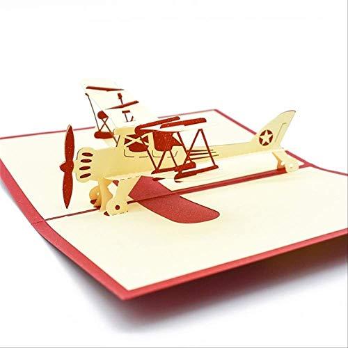 Wenskaarten BLTLYX vliegtuigmodel Pop-upkaart Verjaardag met envelopsticker Lasergesneden uitnodiging Wenskaart Ansichtkaart Vliegtuigen Creatief cadeau 10 * 15cm Rood