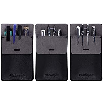 Wisdompro Pocket Protector 3 Pack PU Leather Heavy Duty Pen Holder Pouch for Shirts Lab Coats Pants - Multi-Purpose - Holds Pens Pointers Pencils and Notes - Black