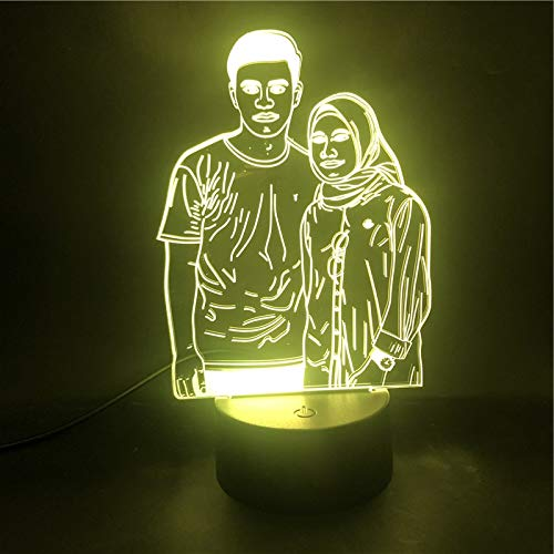 3D Table Lamp Couples Portrait Customization The Alarm Clock Base Table Lamp Pretty Reward USB Table Lamp