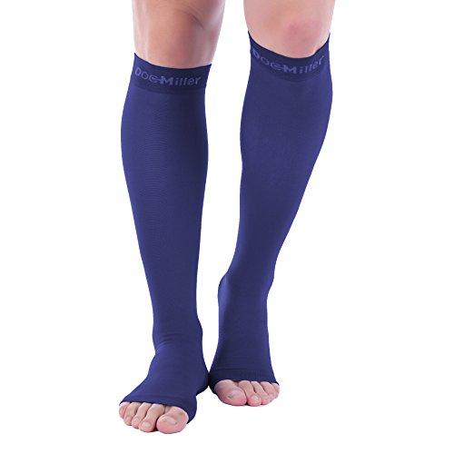 Doc Miller Open Toe Compression Socks 1 Pair 30-40 mmHg (Dk Blue OT Lrg Tall)